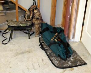 Mad Dog Camo Backpack, Soft Sided Gun Travel Bag, Assorted Game Calls, Insulated Thermos, And Folding Stool