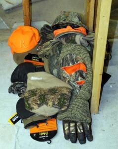 Camouflage Insulated Gloves, Assorted Types And Sizes, Qty 8 Pair, And Assorted Hats