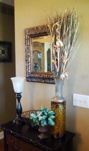 "Home Decor Including 19"" Lamp , Artificial Floral Arrangements, Mirror, 20"" x 24"", And More"