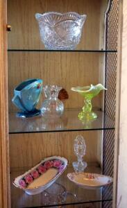 Roseville Flower Vase, Crystal Bowl, Porcelain Rose Dish, And More, Contents Of Top Three Shelves