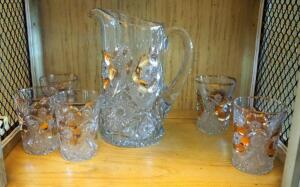 Crystal Pitcher And Five Tumblers, Contents Of Shelf
