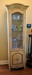 "Tuscan Style Display Cabinet With Mesh Screen Panels, 3 Glass Shelves And Lower Storage, 74"" X 20"" X 16,"" Contents Not Included"