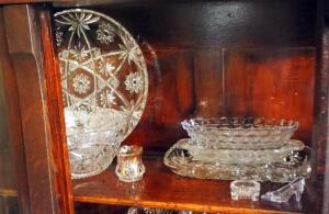 Cut Crystal Glassware, Footed Bowl, Serving Dishes, Serving Trays, Salt, Pepper, And More, Contents Of Top Shelf
