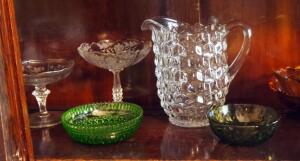 Cut Glass Pitcher, Candy Dishes With Engraved Floral, Amber Glass Dishes With Sunflower Motif, And Goblets, Contents Of Shelf