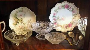 Arthur Wood Teapot, Floral Print Porcelain Plates, Crystal Cut Serving Bowls And Dishes, Vintage Spoons, Contents Of Shelf
