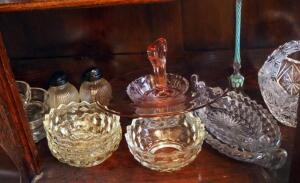 Crystal Cut Glass Baskets, Serving Dishes, Candy Tray, Salt And Pepper Shakers, And More, Contents Of Shelf