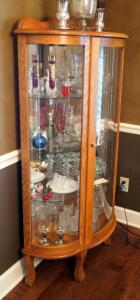 "Solid Wood Curved Glass Curio Cabinet With 3 Glass Shelves, 61"" X 34"" X 14"", Contents Not Included, 2nd Day Loadout Only"