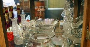 Glassware Including Bowls With Etched Florals, Cruet With Stopper, Vases Assorted Sizes, Contents Of Shelf