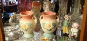 "Hull Art Pottery Vases, 5.75"", Qty 2, Candy Dishes, Porcelain Figurines, And More, Contents Of Shelf"