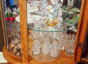 Candlesticks, Drinkware Set, Vases, Salt & Pepper Shakers, Sterling Silver Hurricane Votives, And More, Contents Of Bottom 2 Shelves