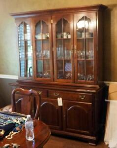 "Solid Wood 2 - Piece China Cabinet, 78"" x 62"" x 21"", Contents Not Included, 2nd Day Loadout Only"