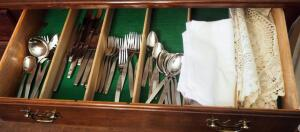 Community Stainless Flatware, Spoons, Forks, Knives, Serving, Dinner Napkins And Lace Table Runner, Contents Of Drawer