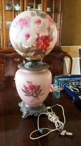 "Converted Antique Victorian Hurricane Oil Lamp With Floral Peony Motif, 28.5"" Tall, See Description For More Details"