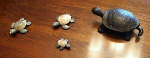 Cast Iron Turtle Trinket Box, And Three Stone Turtles