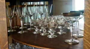 Fostoria Gold Rimmed Crystal Stemware, Assorted Sizes And Designs, Contents Of Shelf