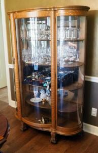 "Solid Wood Curved Glass Curio Cabinet With Four Wood Shelves, Claw Feet, On Casters, 65.5"" X 46"" X 18,"" Contents Not Included, 2nd Day Loadout Only"