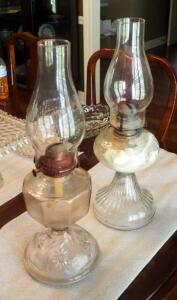 "Vintage Glass Hurricane Oil Lamps, Both 18"" Tall, Qty 2"