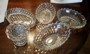 "Fostoria American Oval Bowls, Qty 4, Sizes Range 10""-12"", And 5"" Vase"