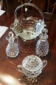 Fostoria American Footed Basket With Handle, Sugar Bowl, And Oil / Vinegar Cruets With Stoppers, Qty 2