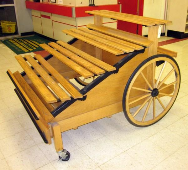 Rolling Wood Display Cart with Wagon Wheels