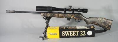 Marlin 925 .22 LR Bolt Action Rifle SN# 95637954, With BSA Sweet 22 Scope, Bipod And Nylon Sling
