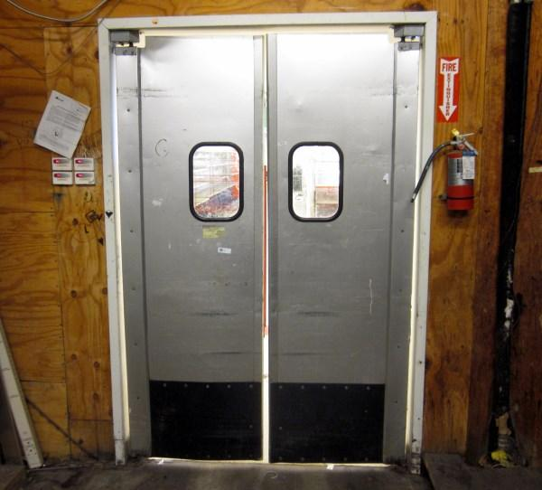 Lot 234 Of 268: Two Way Swing Metal Kick Double Door With Window
