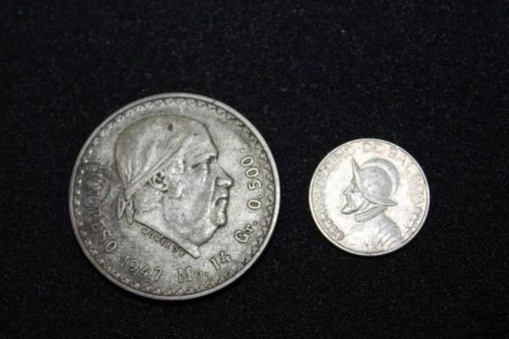 1947 Mexican Peso Gr   500 & 1947 Panama Balboa Coins