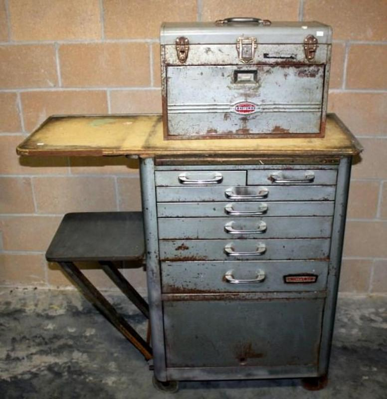 Lot 80 Of 317: Vintage Craftsman Rolling Mechanicu0027s Tool Chest With  Workstation Top And Small Portable Tool Box