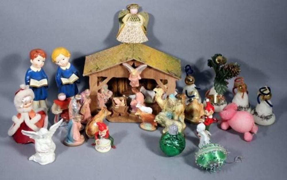 Vintage Christmas Ornaments And Vintage Manger Scene Collection