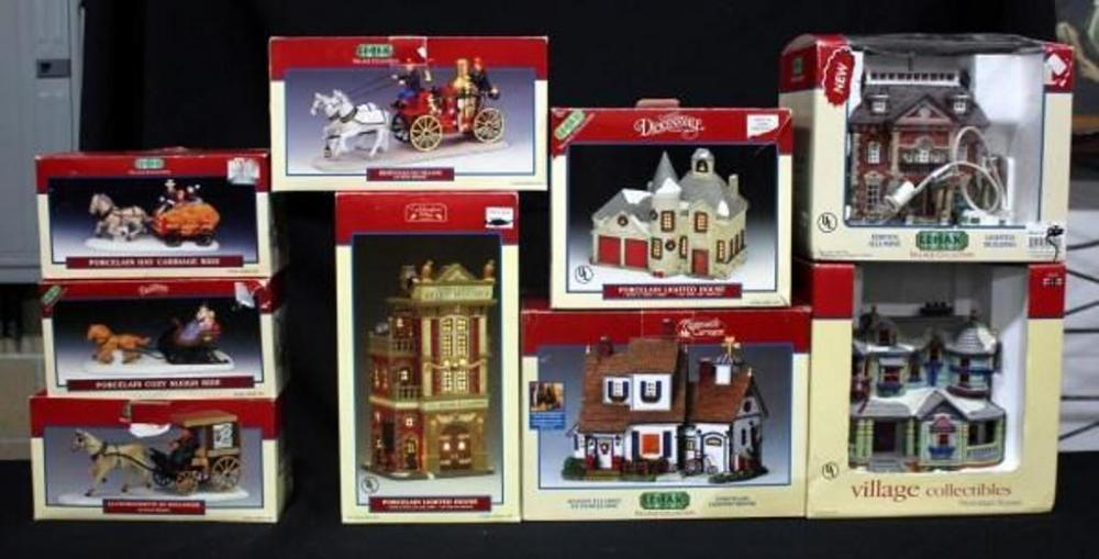 lot 231 of 468 lemax lighted boxed christmas village collection qty 9pcs includes fire house ashford house victorian house horse drawn figures and more
