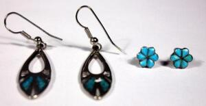 Turquoise Post and Teardrop Earrings - Two Pairs