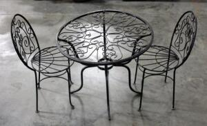 "Wrought Iron Childre'ns Patio Table and Chairs. Table Measures Approx 19"" H x 22"" D"