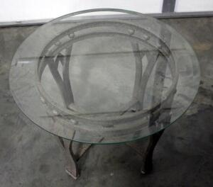 "Round Glass Top End Table Approx 25"" Diameter"