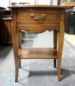 "Single Drawer Curved Front End Table Approx 27"" H x 19.5"" W x 15"" D"