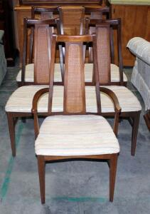 Vintage Wicker and Wood Back Padded Chair. Includes 1 Captains Chair and 4 Side Chairs