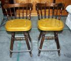 "Vintage Pair Of Padded Bar Stools with Metal Foot Rest. Seat is 25"" High"