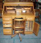 Roll Top Desk One Side is Damaged Comes with Vintage Rolling Wood Chair