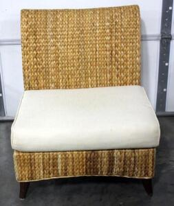 "Curved Back Wicker Chair With Oversize Seat 36""H x 29 1/2""W x 27""D *See Description*"