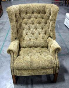 "Upholstered Tufted Wingback Recliner - 43"" Tall"