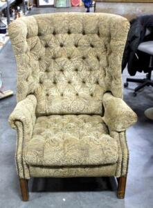 "Upholstered Tufted Wingback Recliner - 43"" Tall - Missing An Arm Cover"