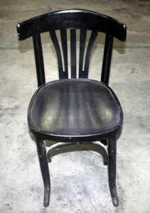 "Curved Back Wood Chair With Metal Tag on Back - Reads ""L.B.N.C. HIP San Isidro"" Inventory #44611  Seat is 19.5"" Tall"