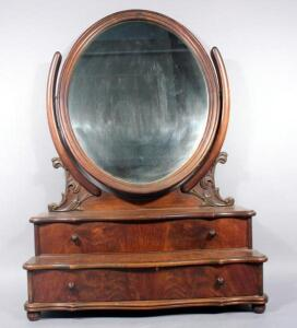 "Ornate Table Top Two Drawer Vanity With Revolving Oval Mirror - Approx 31"" Tall x 9""D Light Cosmetic Damage"