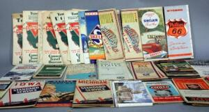Vintage Gas Station Road Maps From 1930's - 1950's Includes Conoco, Skelly, Phillips 66, Standard, More!  Great Pieces of Americana - Approx 45