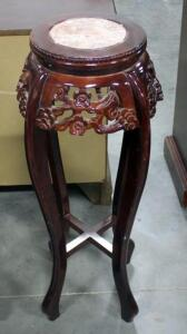 "Carved Entryway Display Table with Inlaid Stone Surface 36"" Tall"
