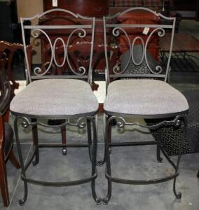 Upholstered Bar Height Iron Framed Bar Seats With Footrests - Qty 2