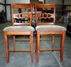 "Pair of Cushioned Slat Back Pub Chairs with Foot Rest - Seat 24""H - Qty 2 Chairs"