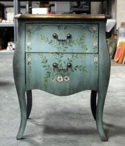 "Painted Floral Design Two Drawer Nightstand / Side Table 28""H x 21""W x 15""D"