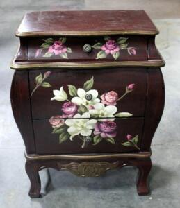 "Three Drawer Floral Design Nightstand / End Table / Side Table with Curved Front 26""H x 19""W x 10""D"