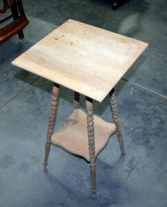 "Unpainted Raw Spindle Legged Two Tier Table 28.5""H x 15"" x 15"" Crack in Top"