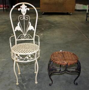 "Small Metal Child's Chair 26""H and Wicker with Metal Frame Foot Rest"